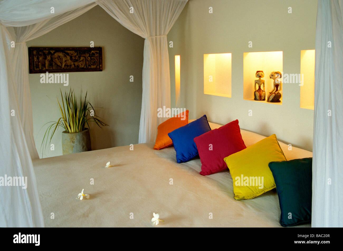 Indonesia, Bali, la camera da letto di una vista panoramica ...