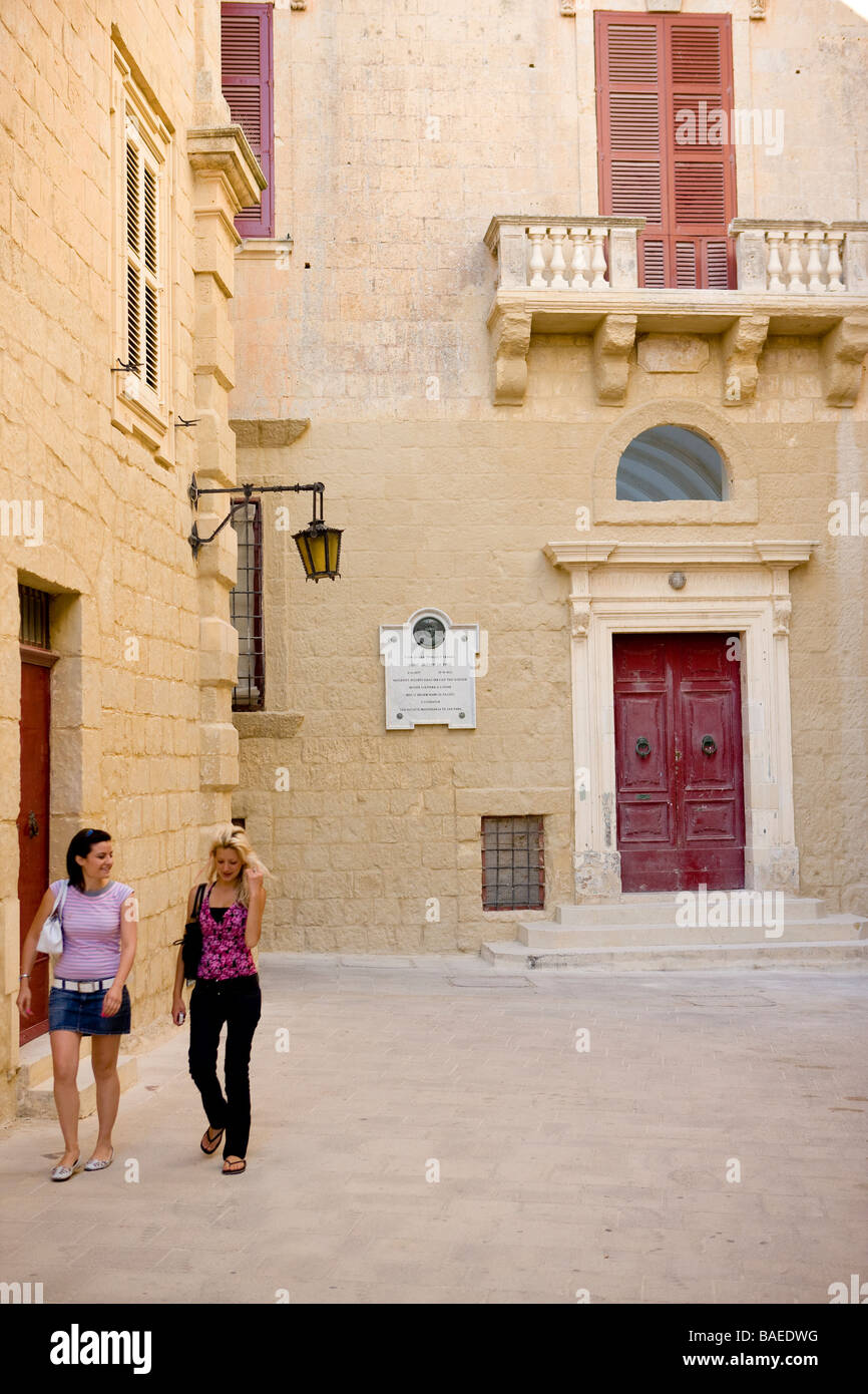 Malta, Mdina (ex capitale) chiamato la città silenziosa Immagini Stock