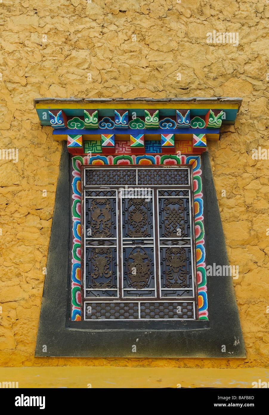 Dettagli architettonici di songzanlin monastero tibetano shangri la Cina Immagini Stock