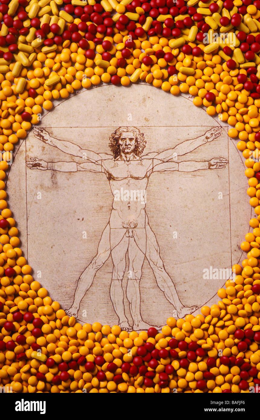 Leonardo Da Vinci nel cerchio di pillole Foto Stock