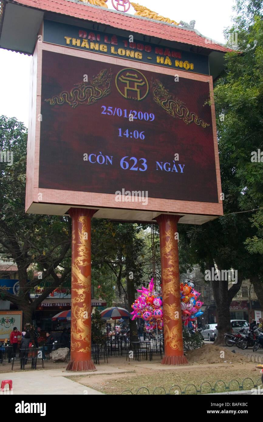 Firma digitale conto alla rovescia orologio tempo fino a quando il Tet capodanno nuovo anno lunare in Hanoi Vietnam Immagini Stock