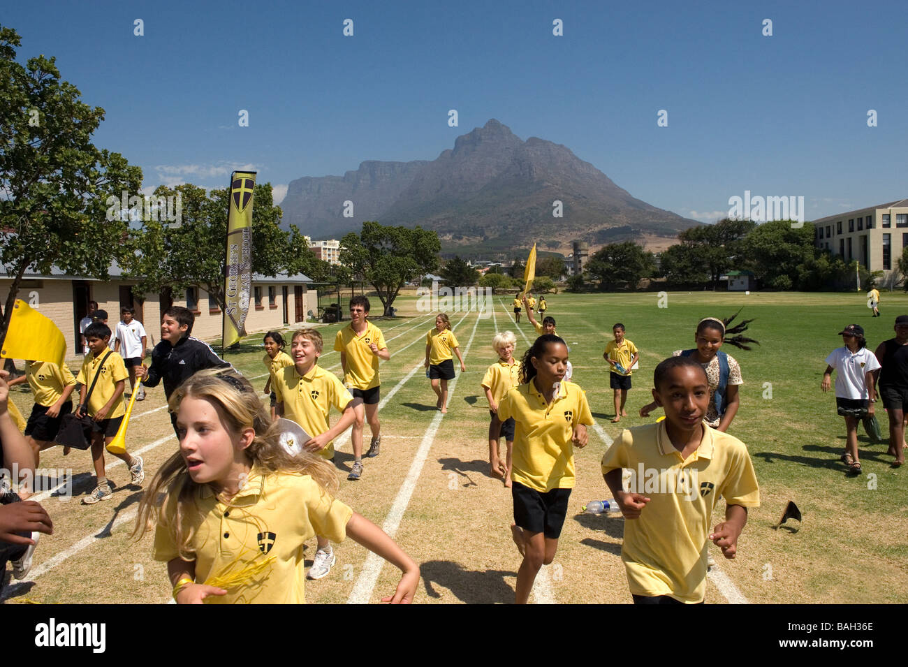 Gala di atletica a St Georges Scuola Città del Capo Sud Africa Immagini Stock