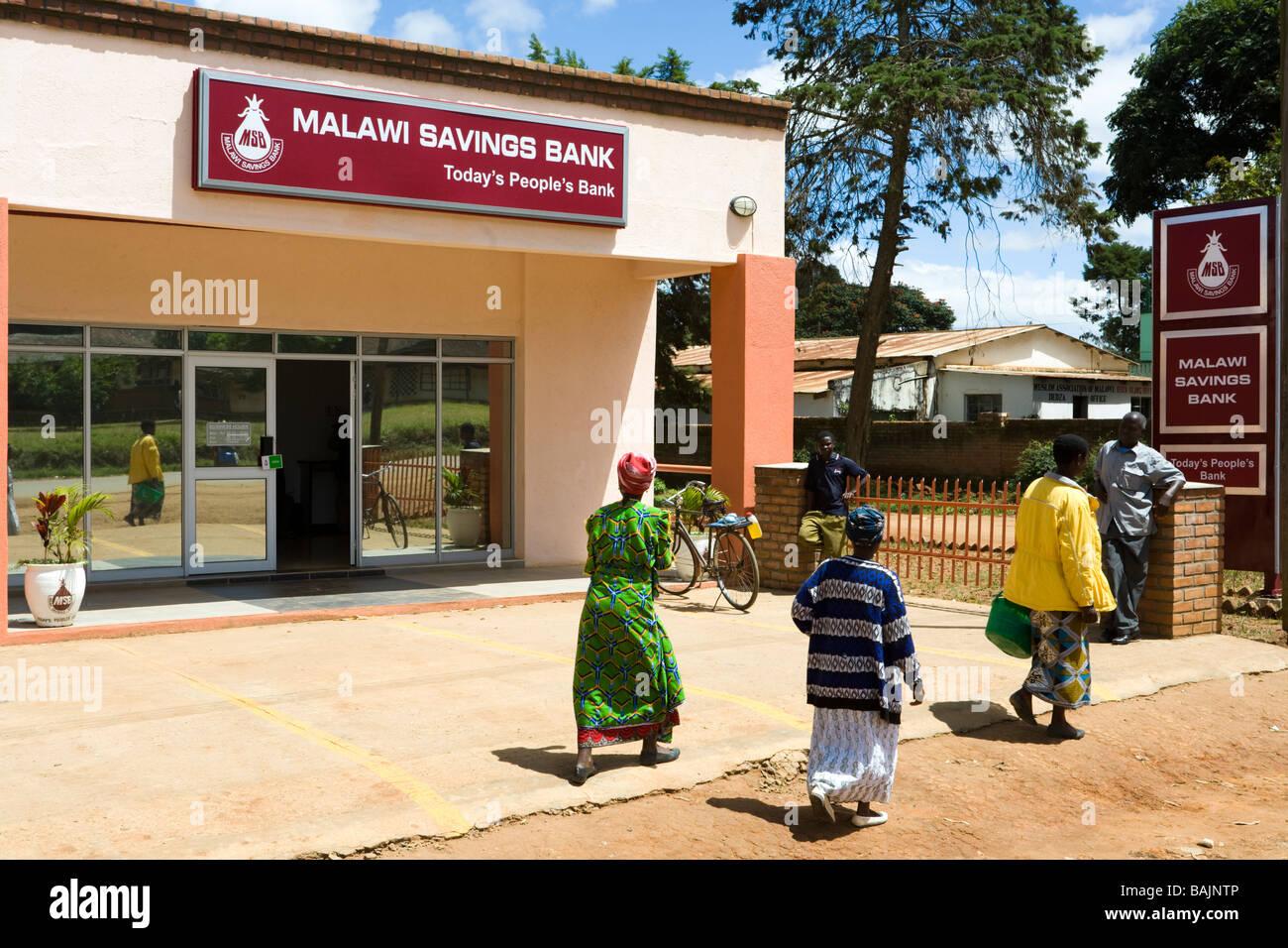 Un ramo del Malawi Savings Bank a Dedza, Malawi, Africa Immagini Stock