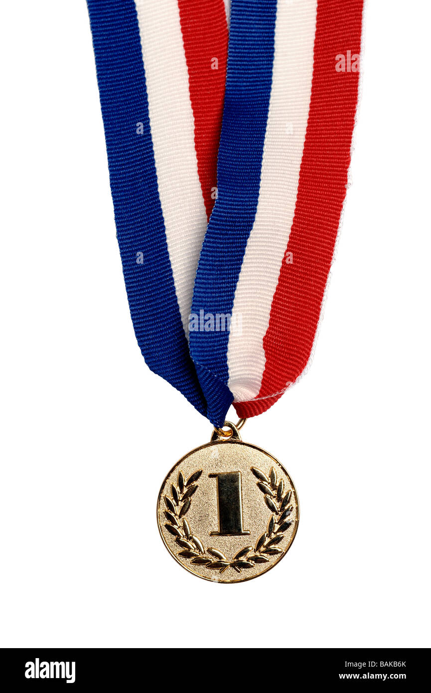 Oro prima medaglia posto Immagini Stock