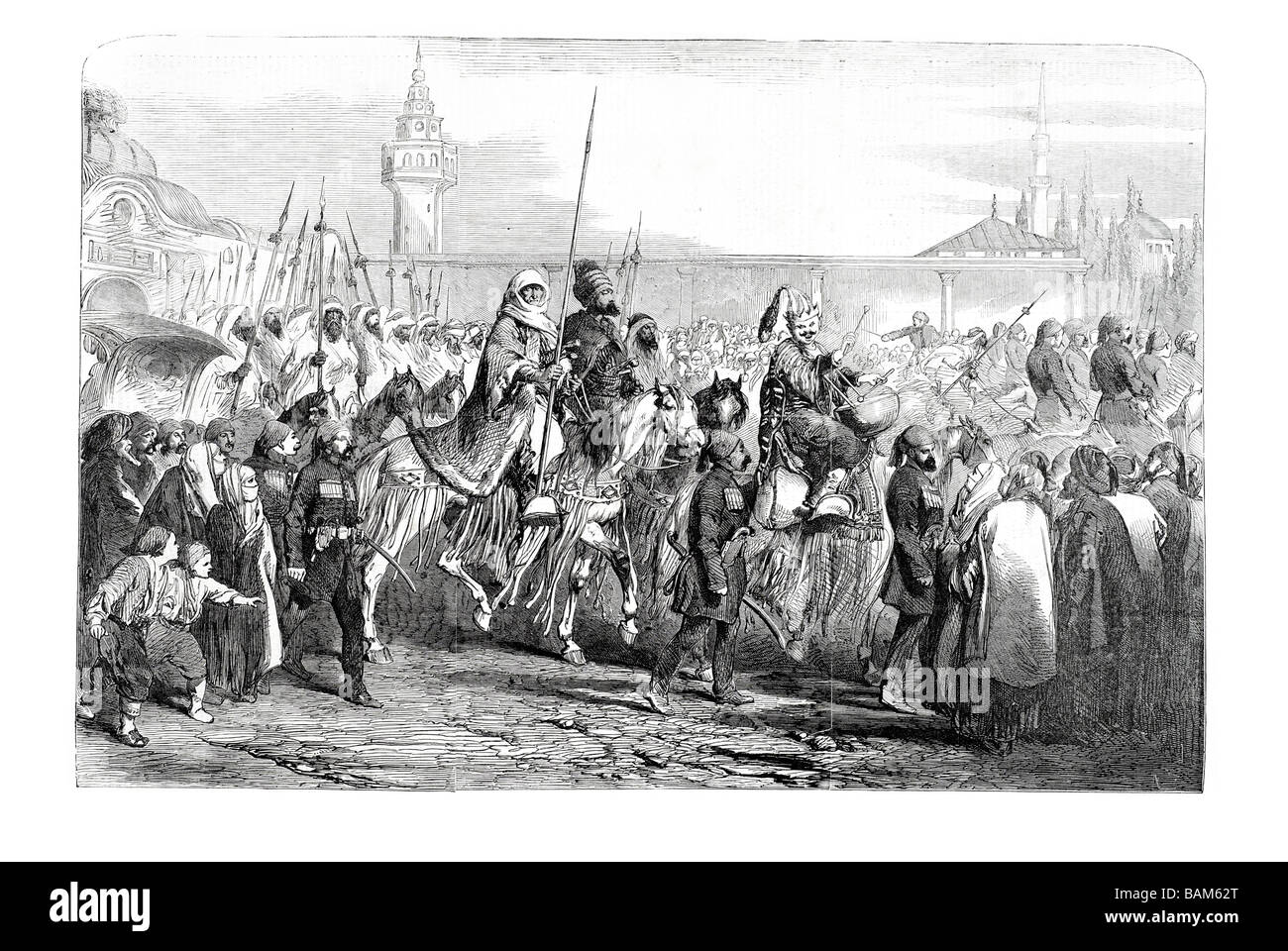 Kara fatima hanoun con la sua cavalcata curda a Costantinopoli 1854 Immagini Stock