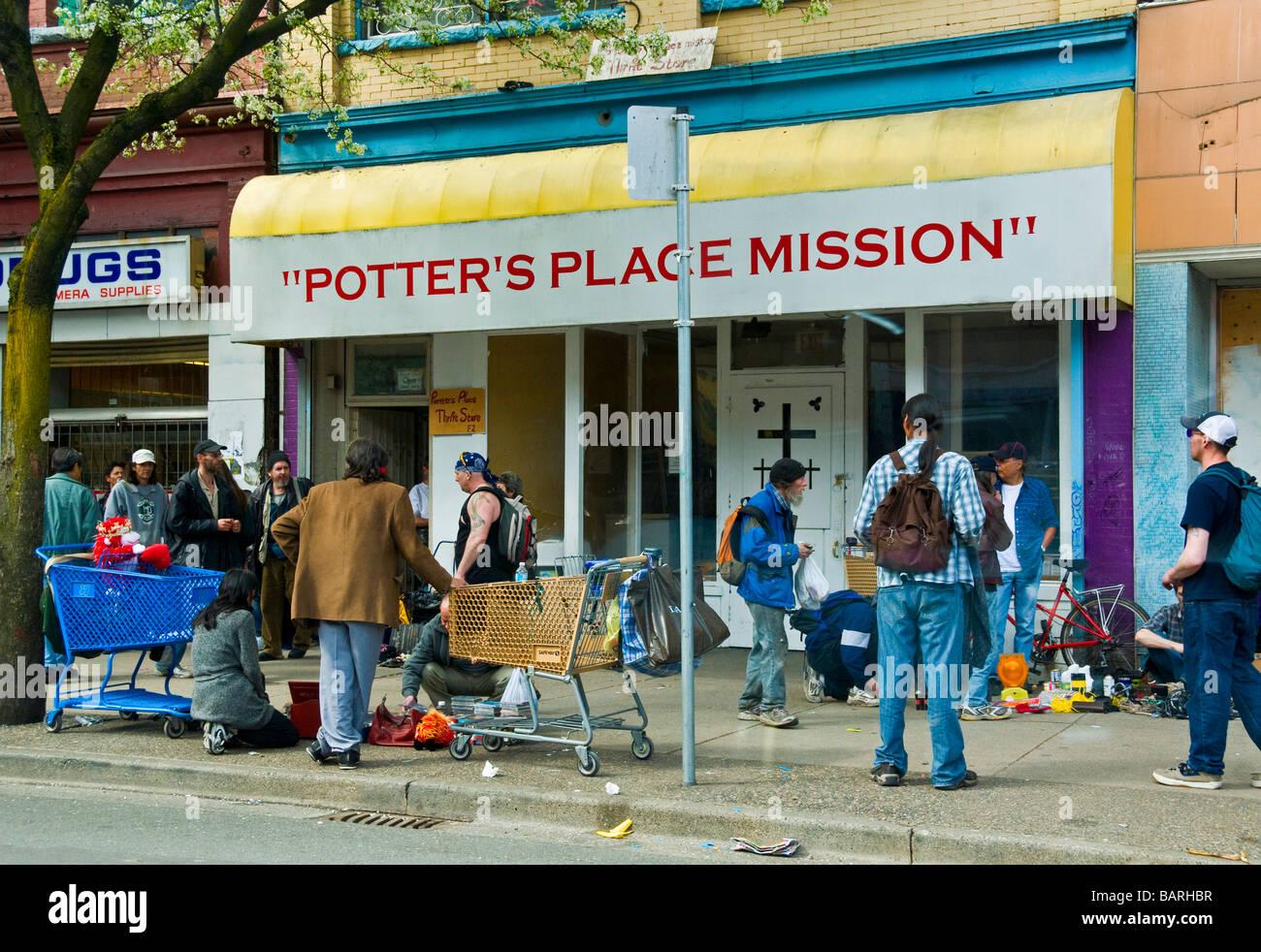 La povertà Hastings Street East Vancouver Immagini Stock