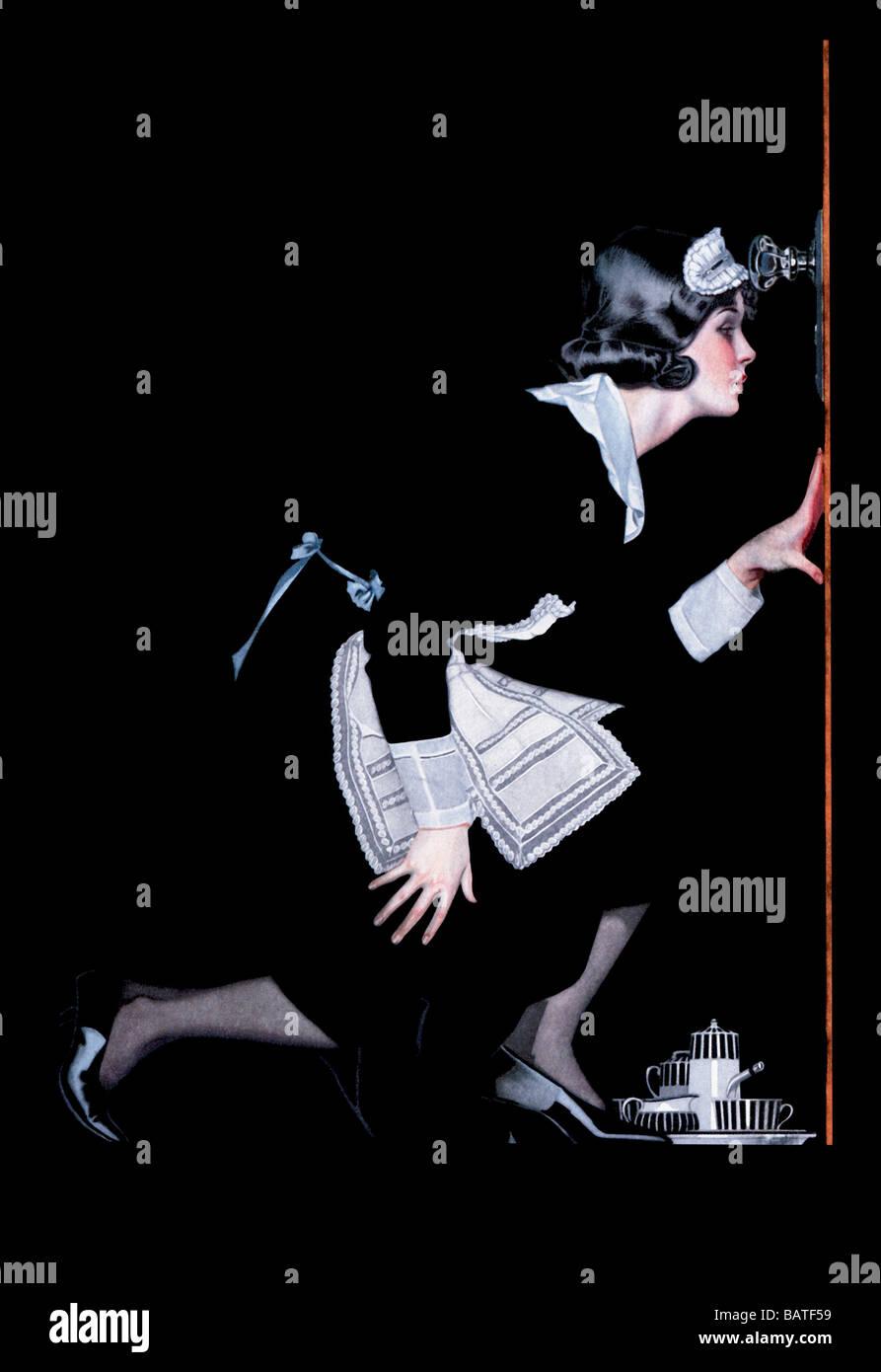 Cameriera di Spy Foto Stock