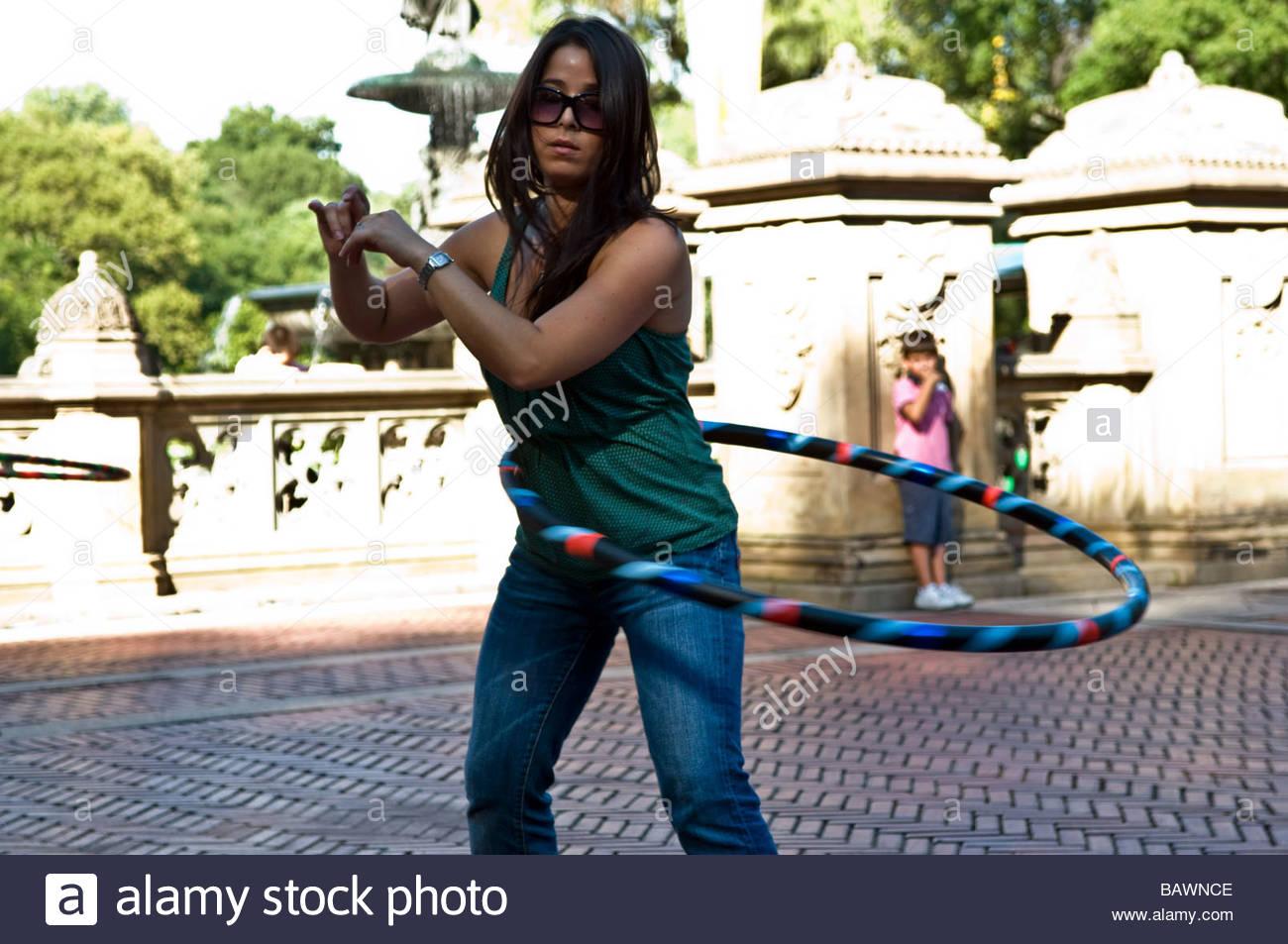 New York City hoola hop lezione di Central Park Immagini Stock