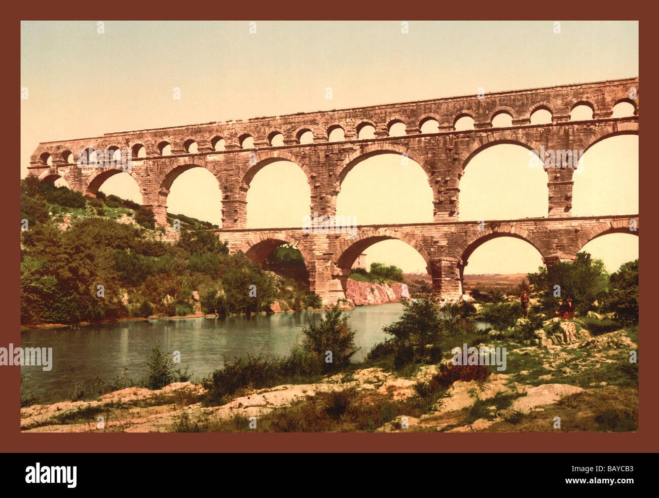 Ponte romano sul Gard,Francia Immagini Stock