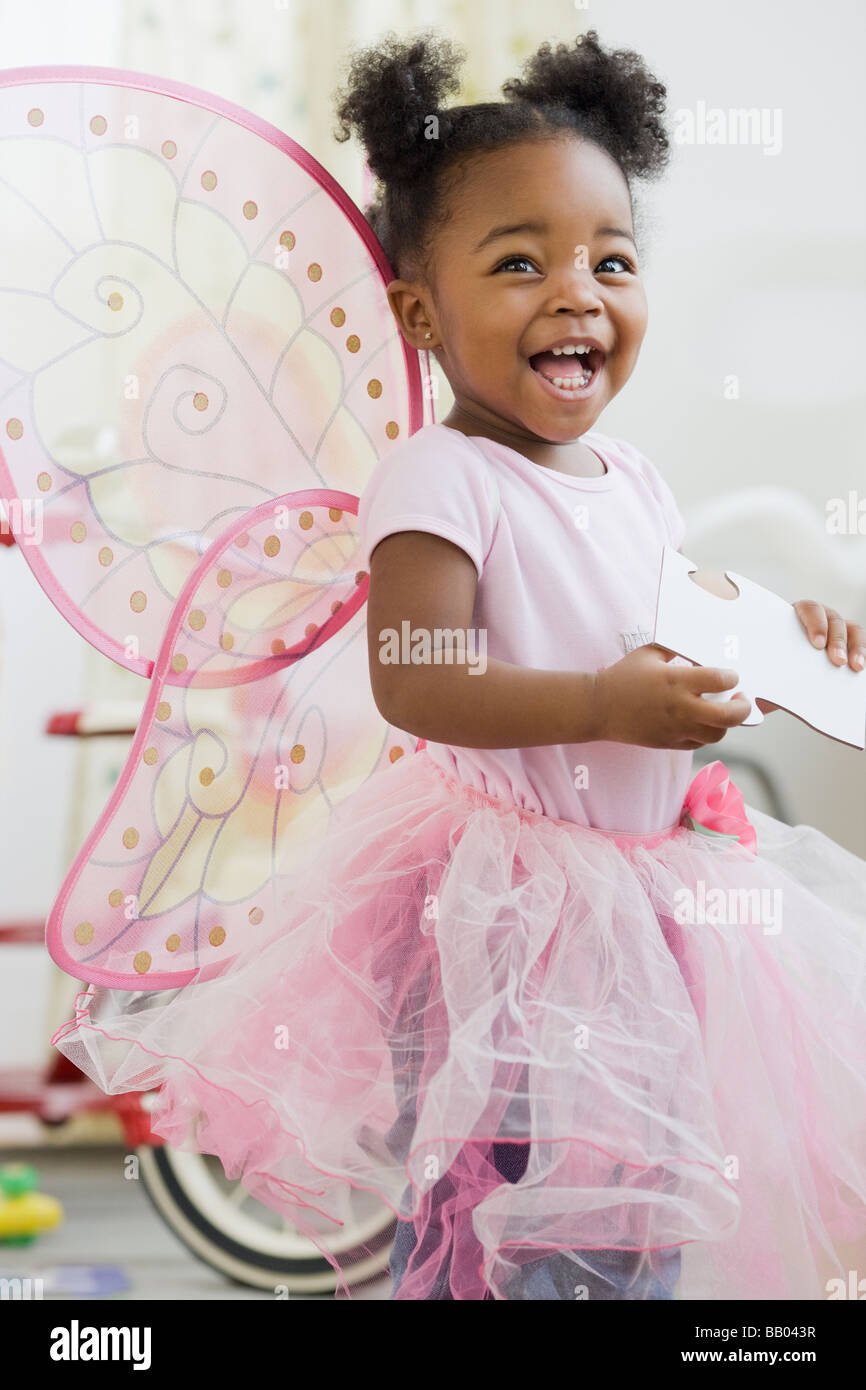African American Girl in costume fata Foto Stock