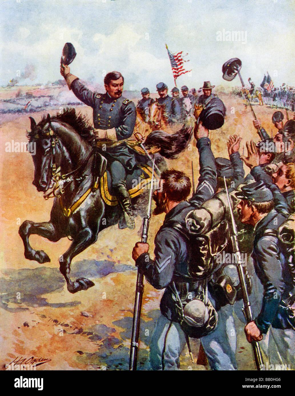Generale McClellan incoraggiando le truppe dell'Unione in occasione della battaglia di Antietam 1862. Litografia Immagini Stock