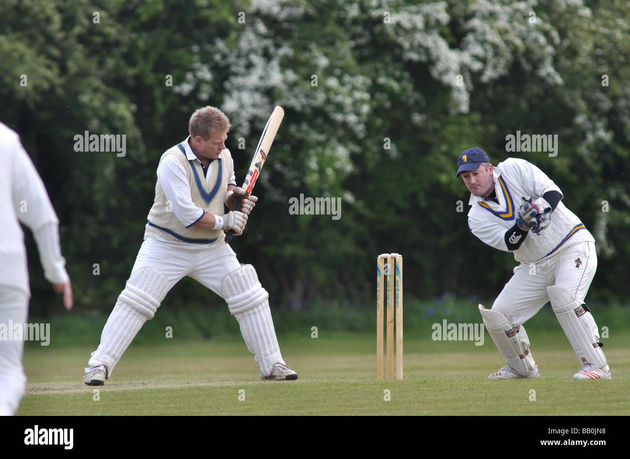 Village cricket in Lapworth, Warwickshire, Inghilterra, Regno Unito Immagini Stock