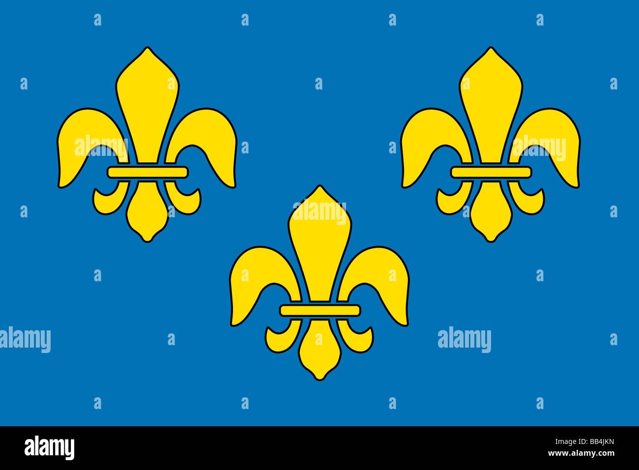 Storica bandiera della Francia, un paese in Europa, da circa 1370 a 1600. Immagini Stock