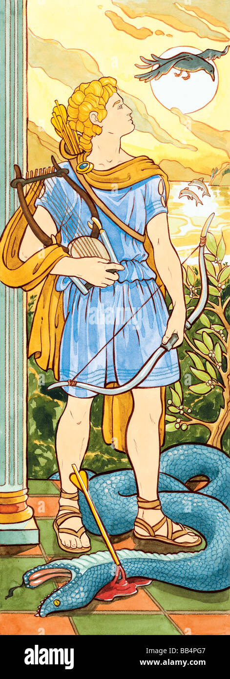 Gli antichi greci e romani adorato Apollo come il dio della musica, la guarigione, la luce e la profezia. Immagini Stock