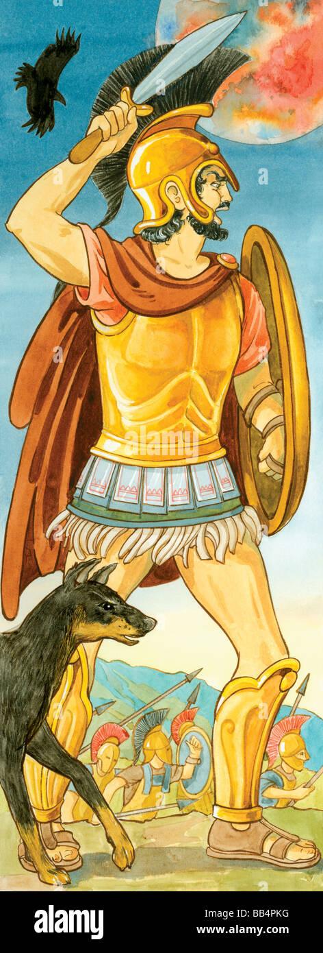 Nel mondo della mitologia greca, Ares era il dio della guerra. Nella mitologia romana, egli è associato a Marte. Immagini Stock