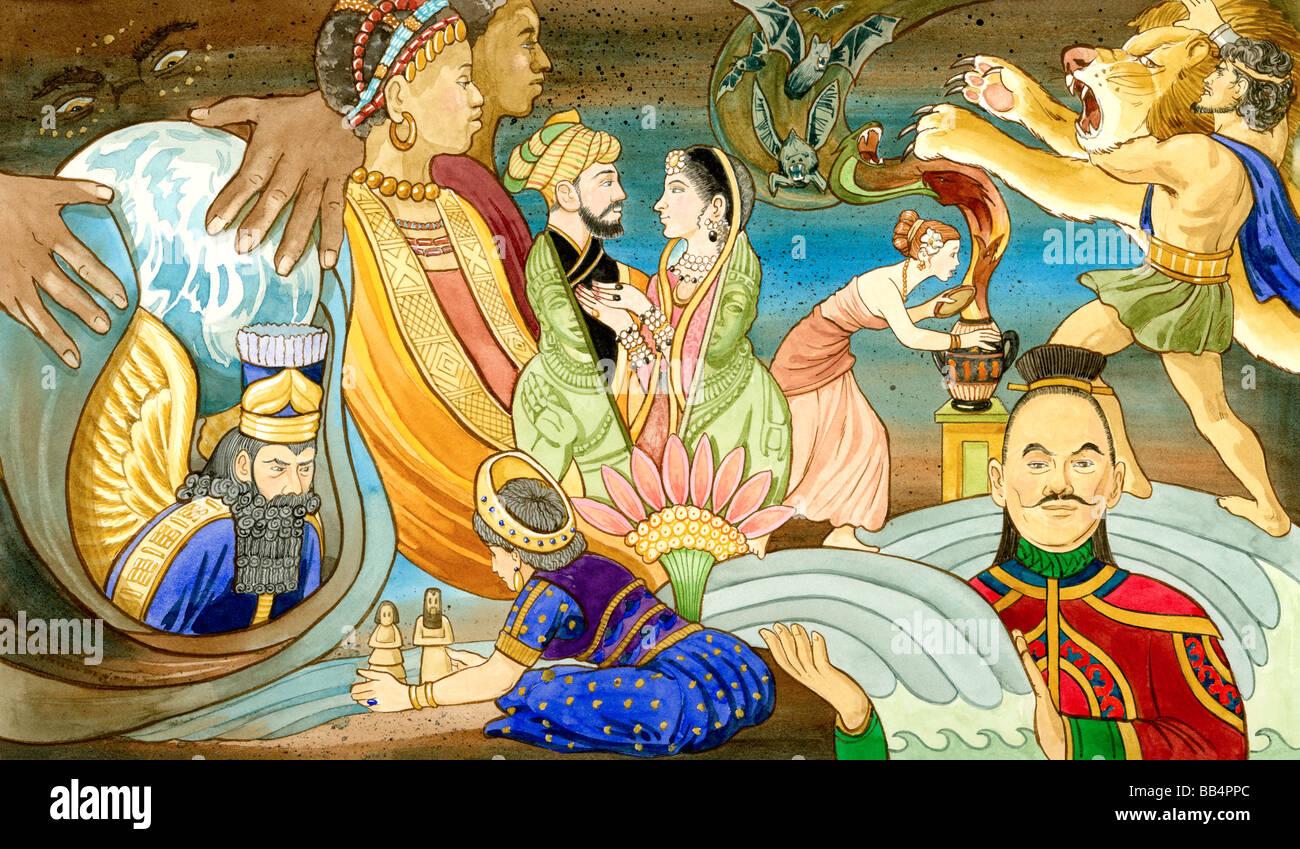 Una collezione di antiche figure mitologiche provenienti da tutto il mondo. Immagini Stock