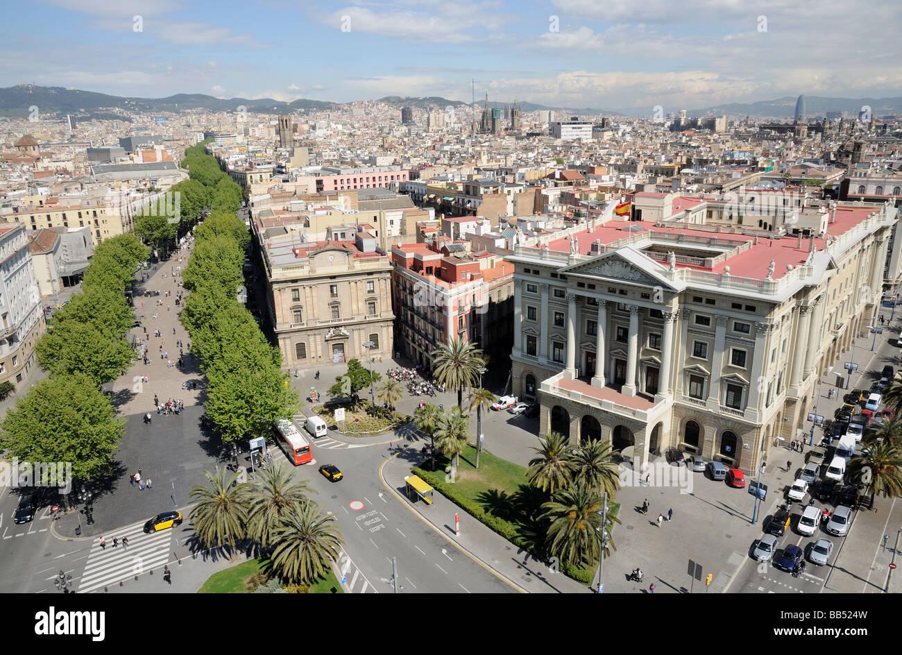 Vista aerea su Barcellona Dal Mirador de Colom Immagini Stock