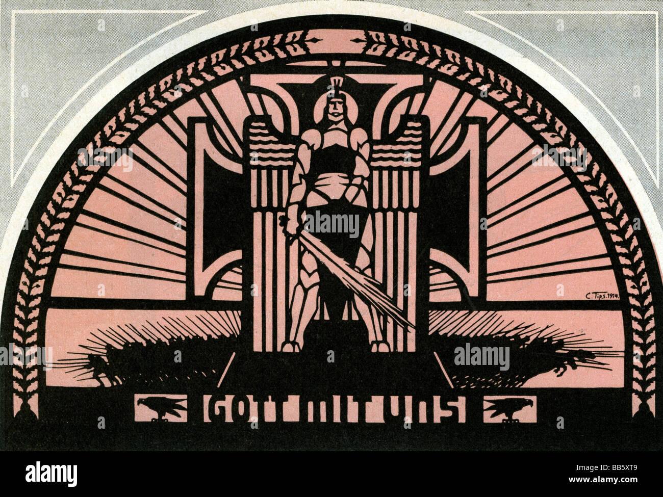 """Eventi, Prima Guerra Mondiale / WWI, propaganda """"Gott mit uns' (Dio con noi), dopo una silhouette di Carlos Immagini Stock"""