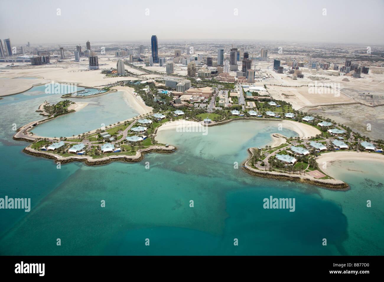 Fotografia aerea del Ritz Carlton Hotel e resort Manama Bahrain Immagini Stock