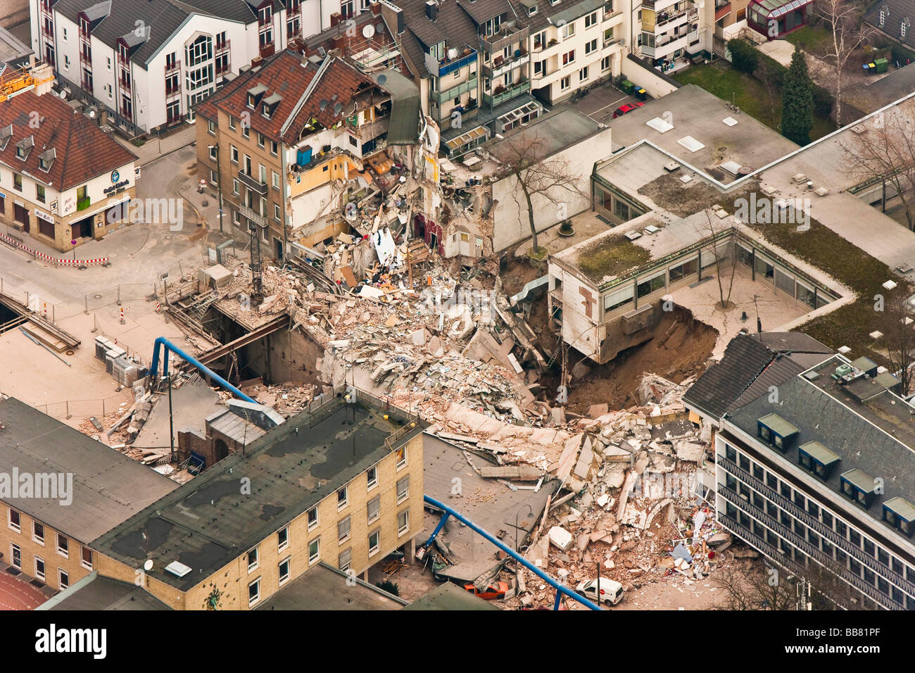 Vista aerea, crollo dell'archivio storico della città di Colonia, Colonia, nella Renania settentrionale Immagini Stock