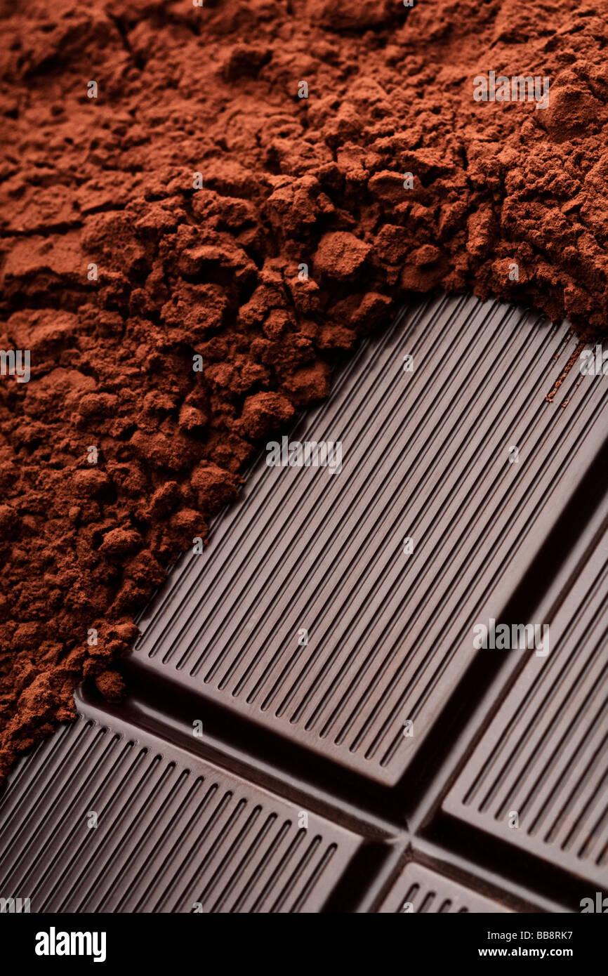 Un cioccolato e cacao in primo piano Immagini Stock