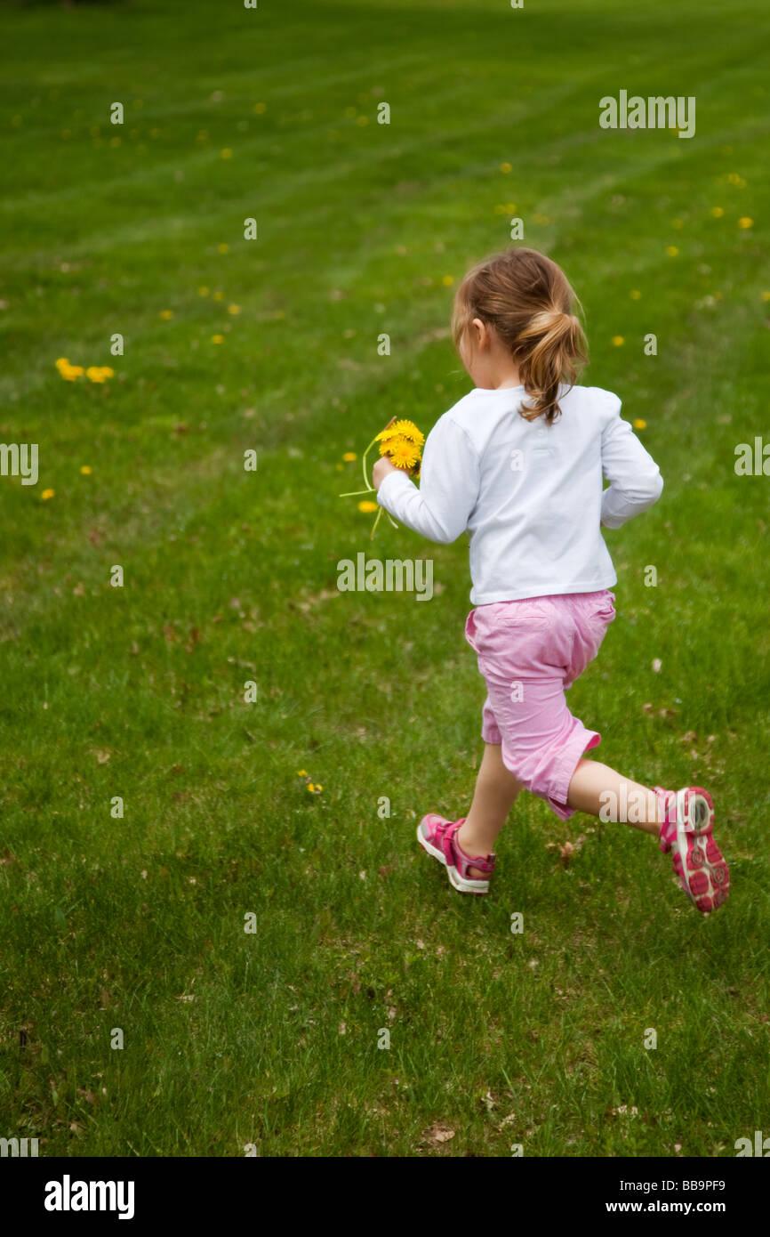 Bambina in esecuzione in un prato per raccogliere il tarassaco per il suo bouquet. Immagini Stock