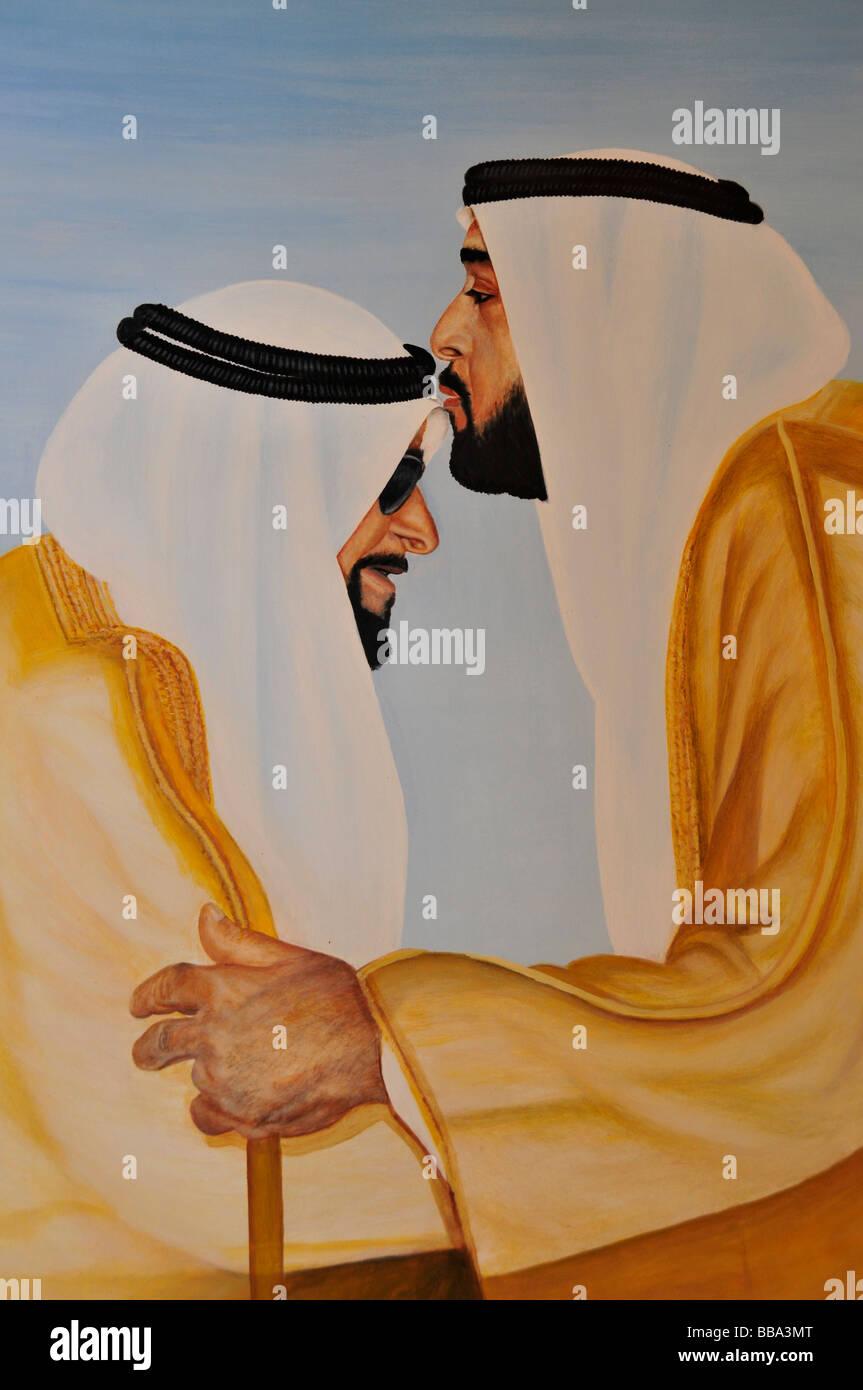 Lo sceicco Khalifa bin Zayid Al Nahyan baci suo padre Zayid bin Sultan Al Nahyan sulla fronte, immagine in Al Ain Immagini Stock