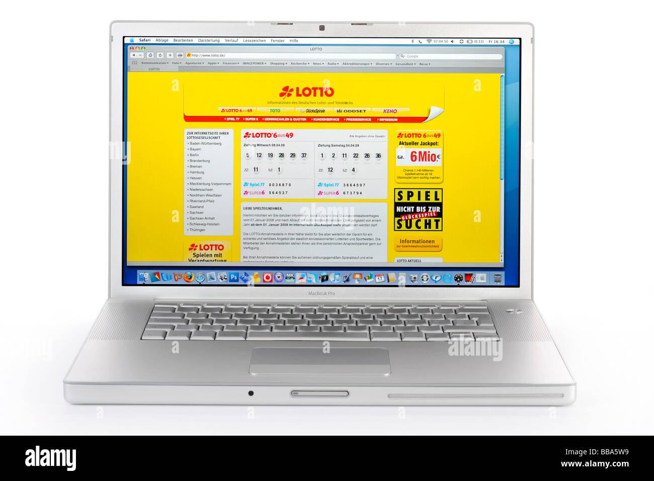 LOTTO portale web su Apple MacBook Pro Immagini Stock