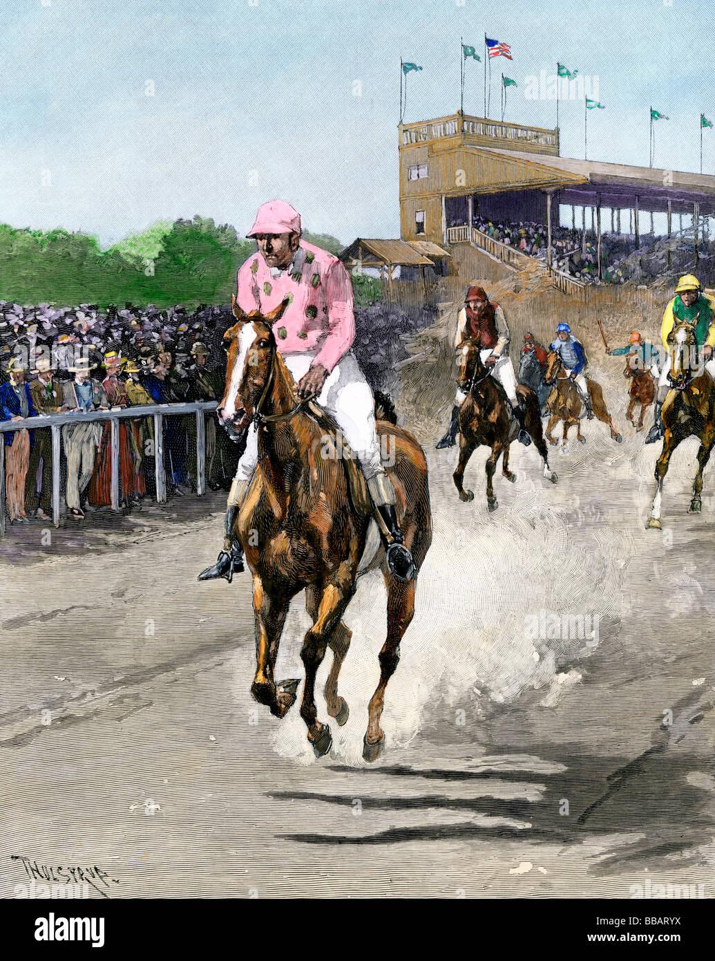 American Race Track 1880. Colorate a mano di mezzitoni una illustrazione Immagini Stock