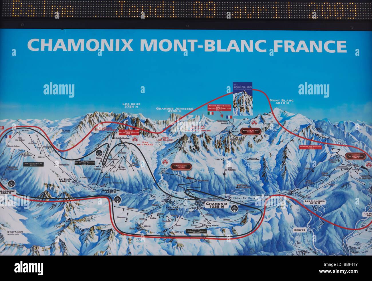 Chamonix Cartina Geografica.Mappa Piste Per Chamonix Mont Blanc Sulle Alpi Francesi Francia Europa Foto Stock Alamy