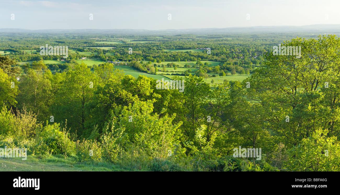 Vista sud da Holmbury Hill, Surrey, Regno Unito Immagini Stock