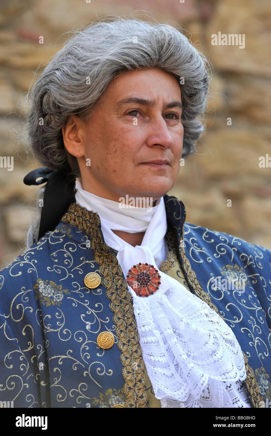 La vita nel periodo barocco del XVIII secolo, l'uomo in abiti veneziano, Schiller Jahrhundertfest secolo festival, Immagini Stock
