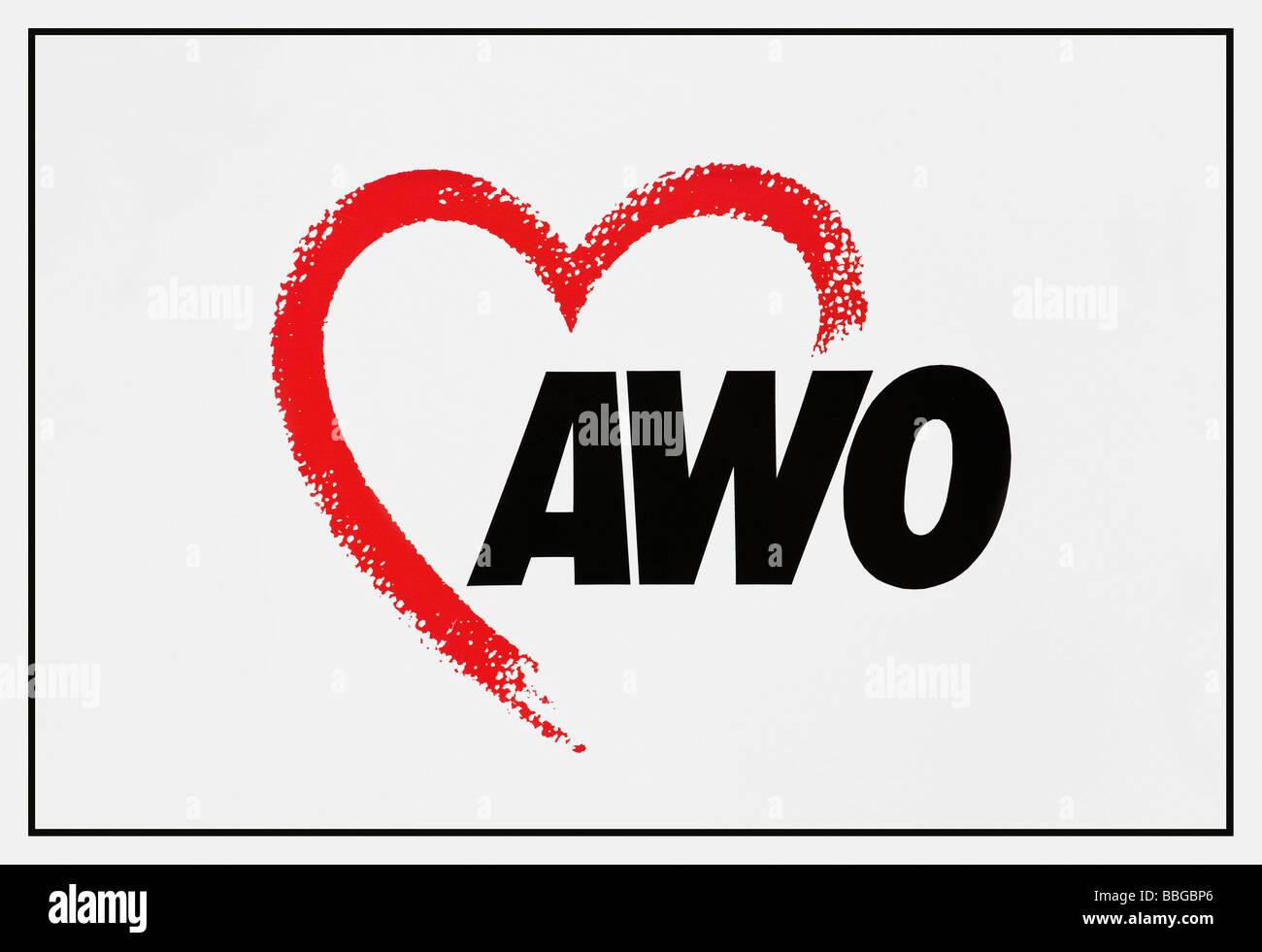 Logo della Arbeiterwohlfahrt, AWO, il benessere dei lavoratori Associazione federale di Germania, con cuore Immagini Stock