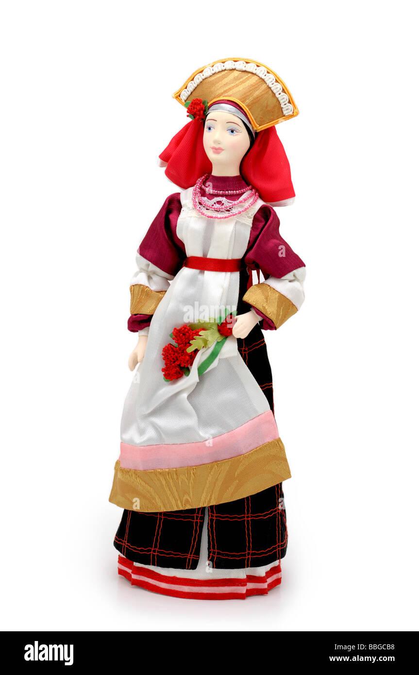 Bambola russa (molla) nazionale in costume tradizionale abito Immagini Stock