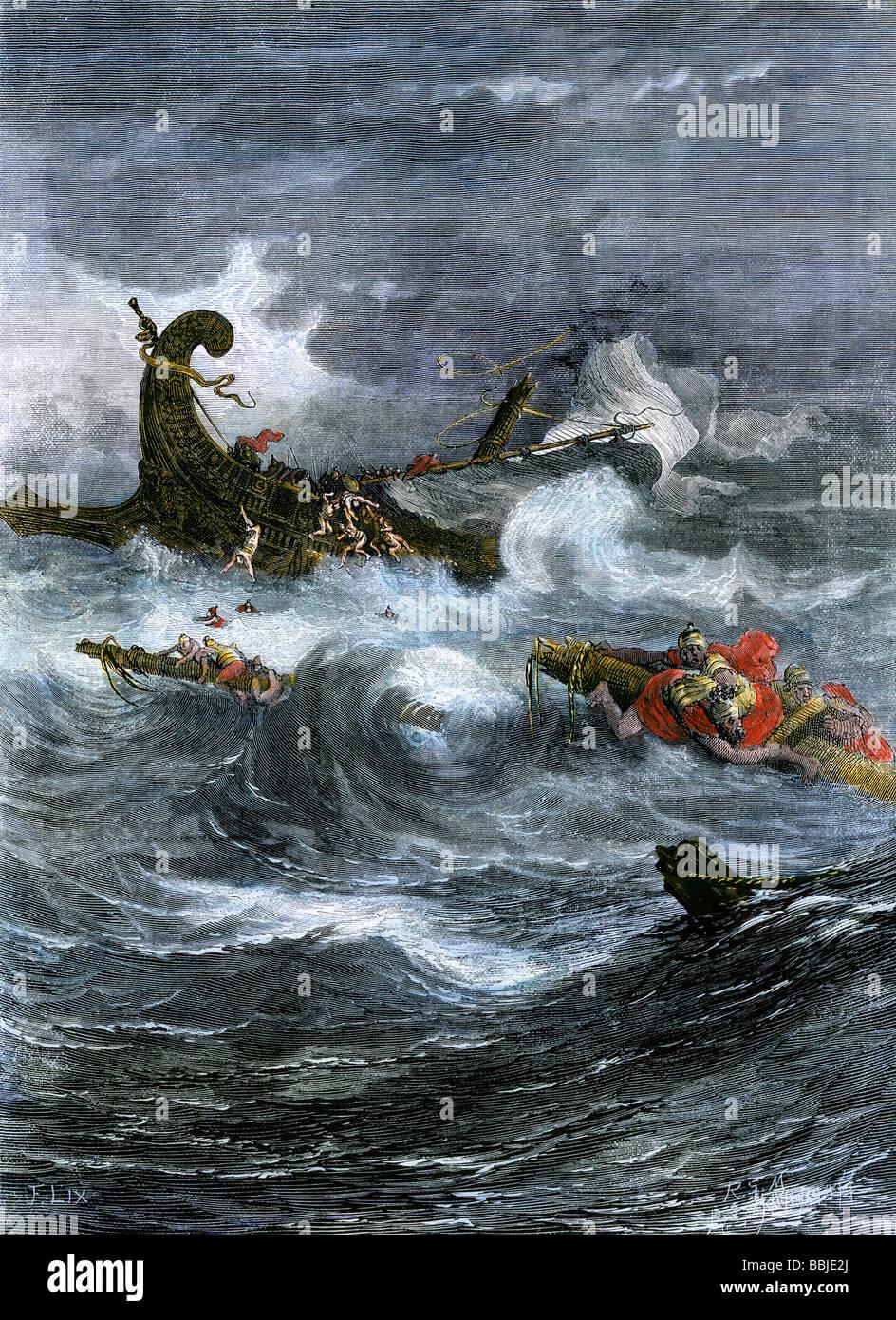 Naufragio di Paolo Apostolo off Malta nel Mar Mediterraneo. Colorate a mano la xilografia Immagini Stock