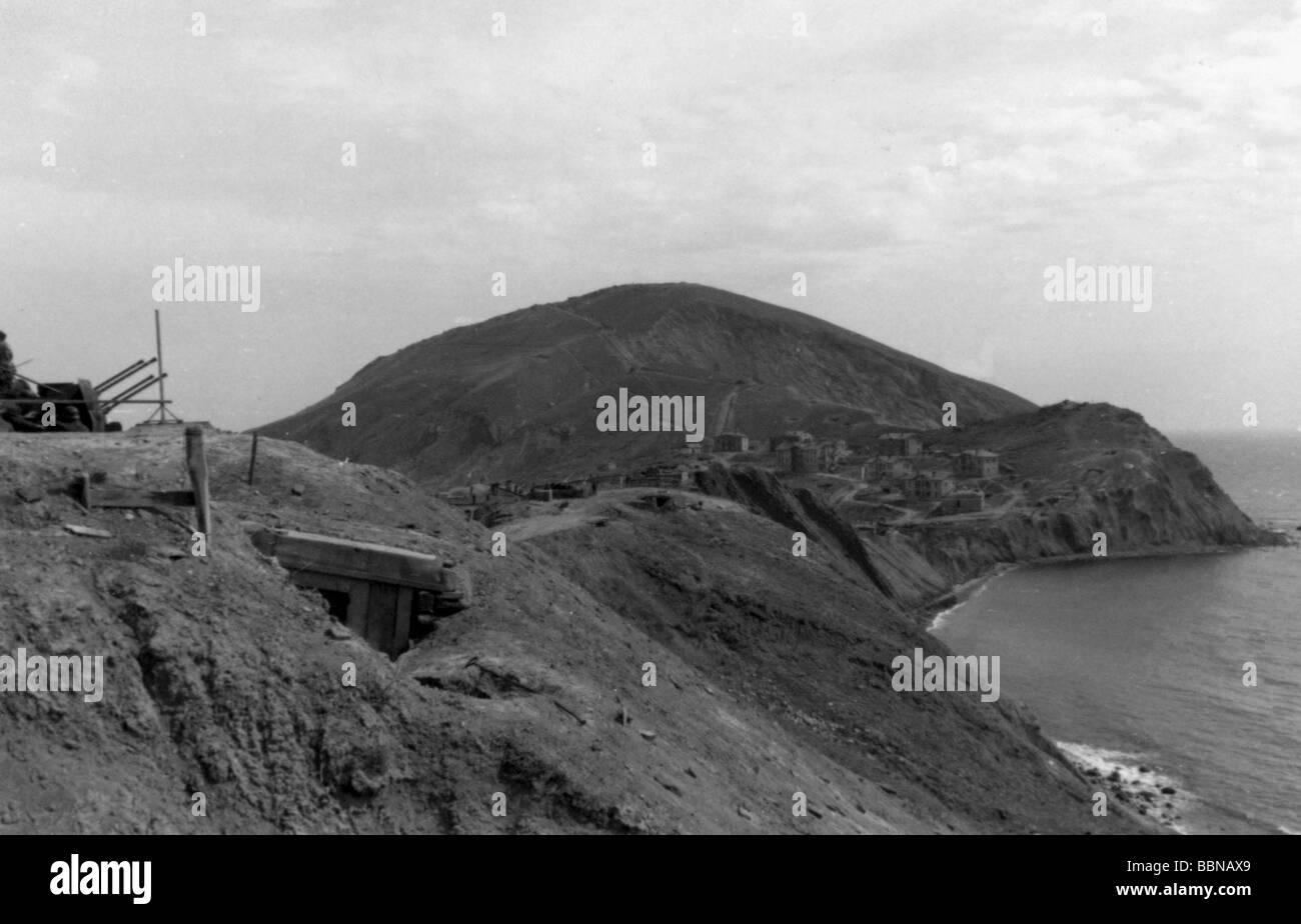 Eventi, Seconda Guerra Mondiale / La seconda guerra mondiale, la Russia 1944 / 1945, Crimea, Tedesco anti-aerei Immagini Stock