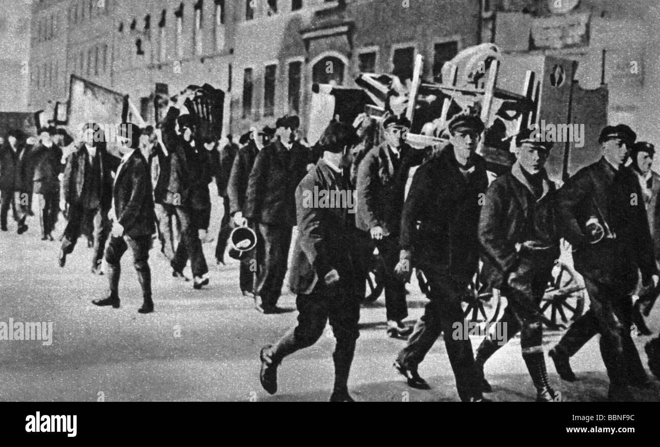 Eventi, Grande Depressione 1929 - 1933, le persone in difficoltà, lo sfratto di una famiglia di disoccupati, Immagini Stock