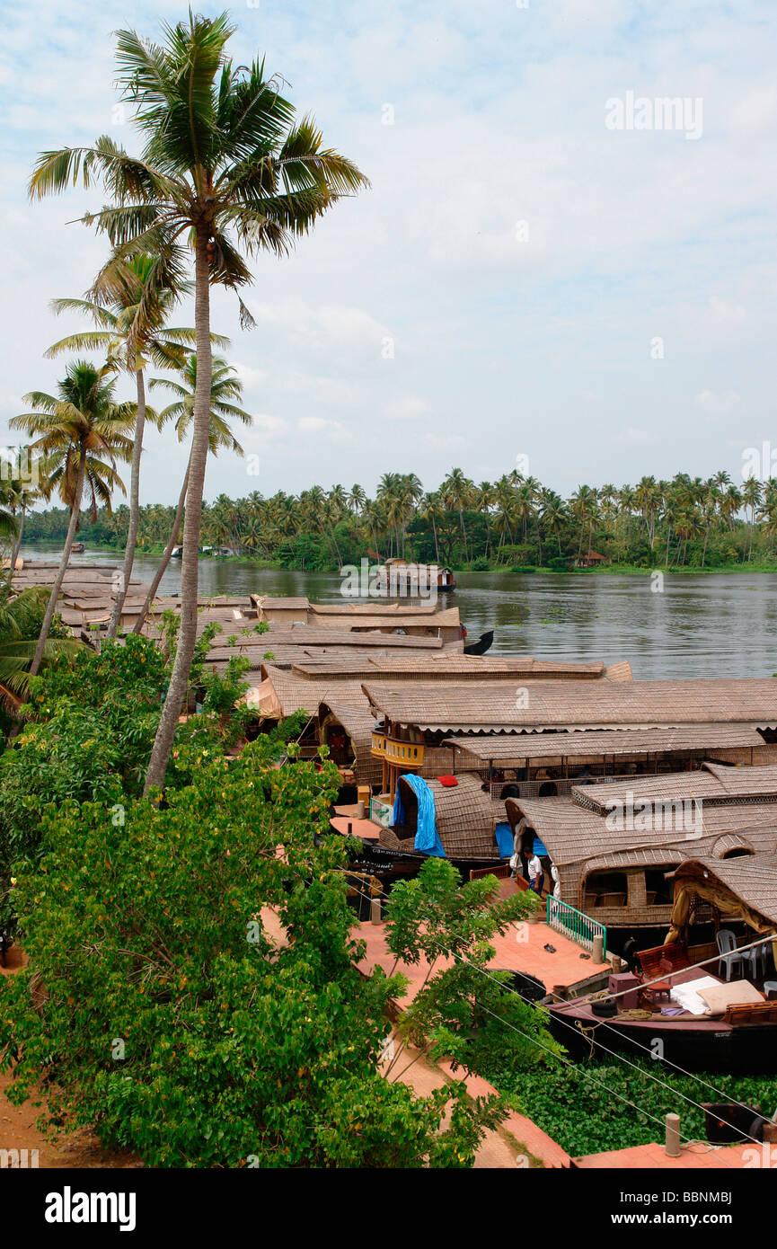Geografia / viaggi, India Kerala, Alleppey, tipico backwaters del Kerala house boat (riso barca), Additional-Rights Immagini Stock