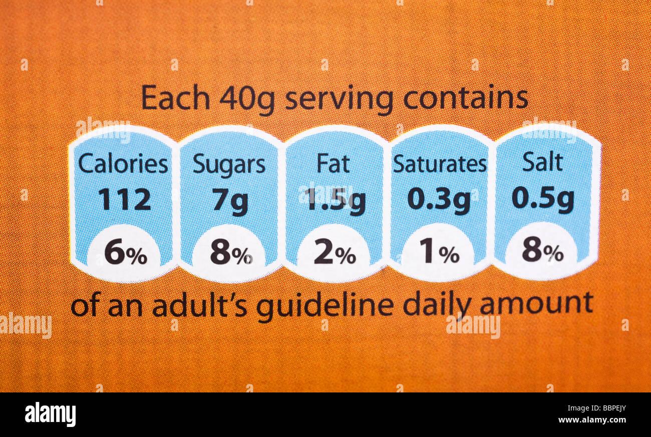 Etichetta alimentare che mostra informazioni nutrizionali REGNO UNITO Immagini Stock