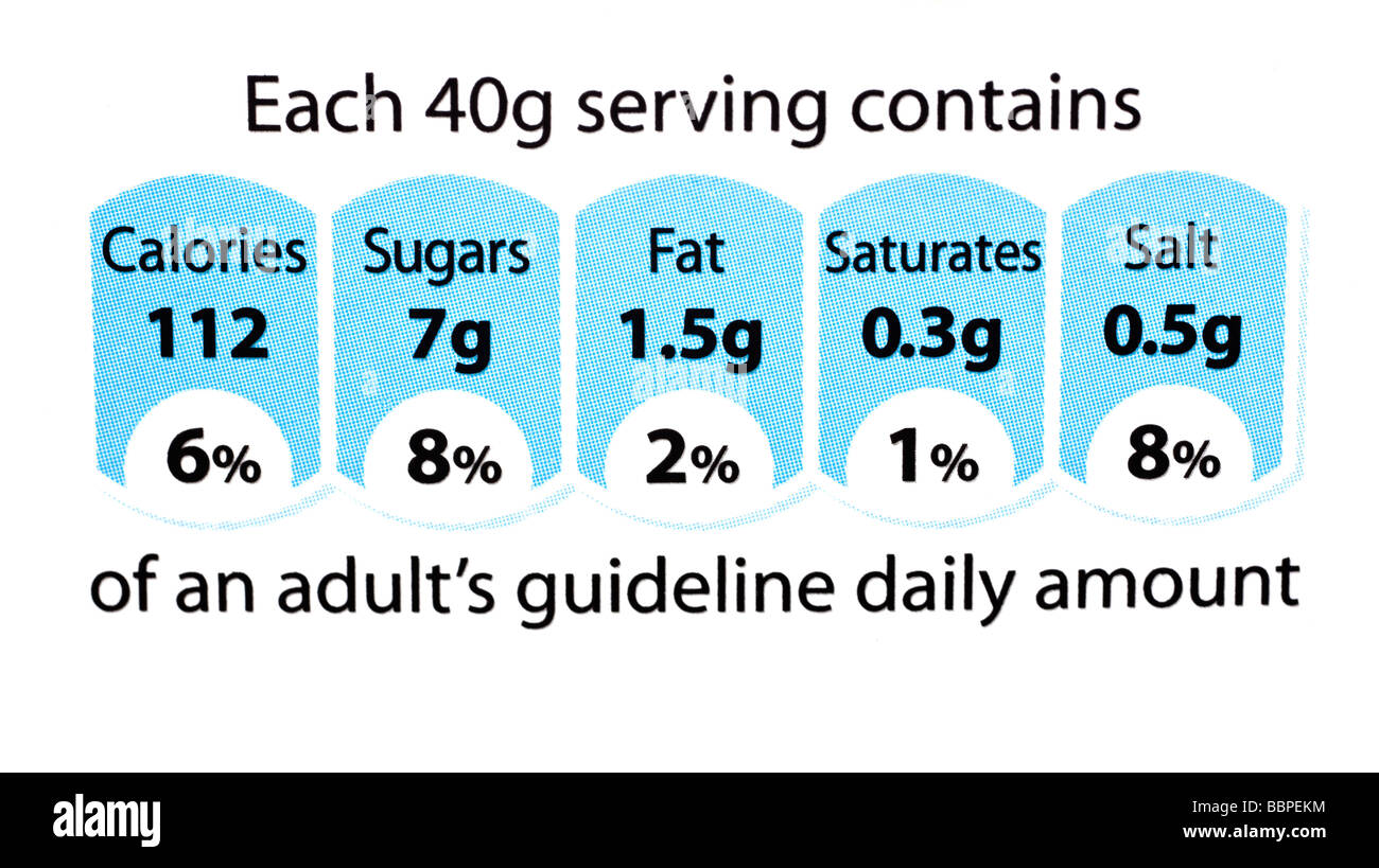 Regno Unito etichetta alimentare che mostra informazioni nutrizionali Immagini Stock