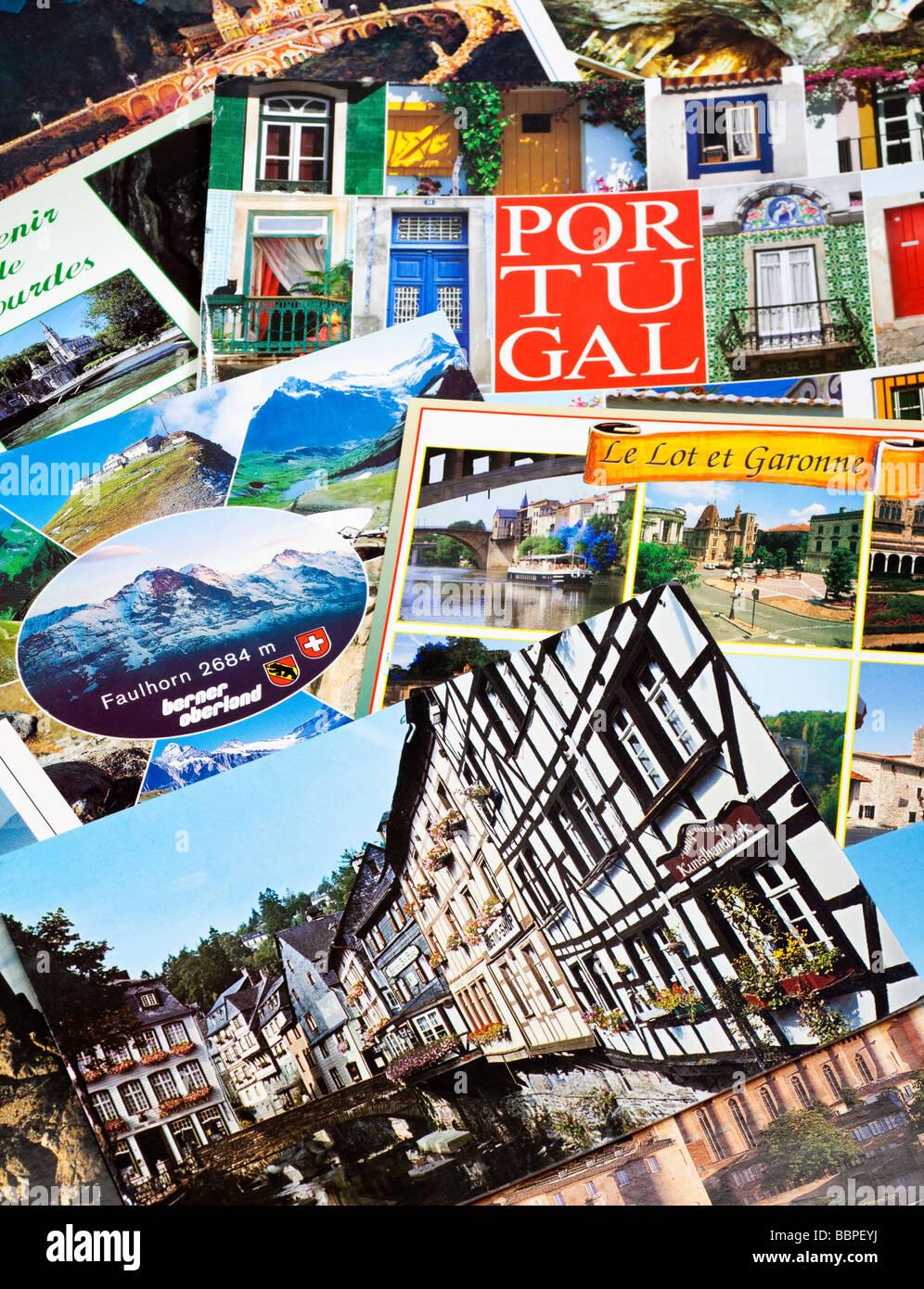 Cartoline pila, viaggio europeo close up Immagini Stock