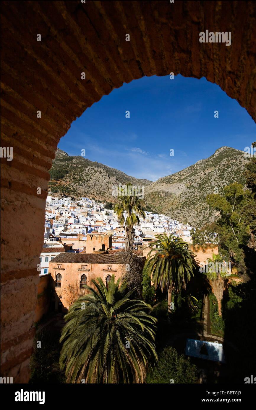 Vista della Kasbah e Chefchaouen, Marocco Immagini Stock