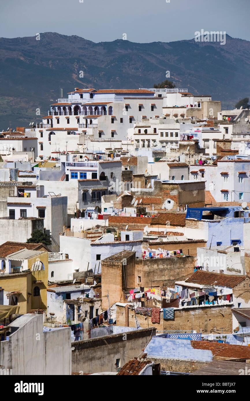 Vista di Chefchaouen, Marocco, Africa del Nord Immagini Stock