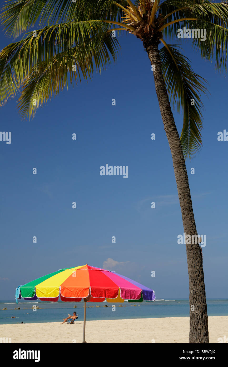 L'Ala Moana Beach Park scena in mattina- Honolulu Oahu Hawaii USA Immagini Stock