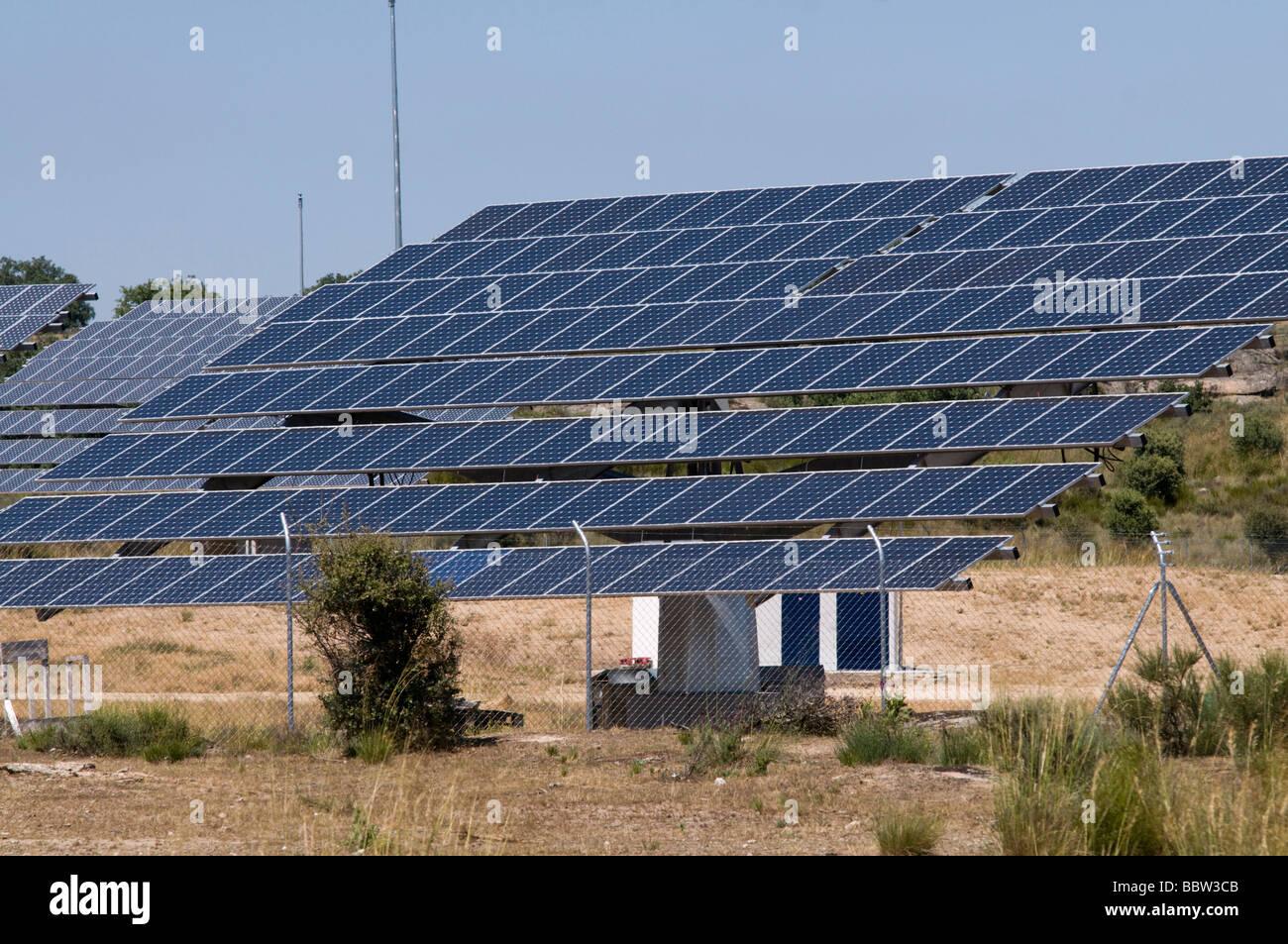 Energia solare centro nella provincia di Zamora, Spagna Immagini Stock