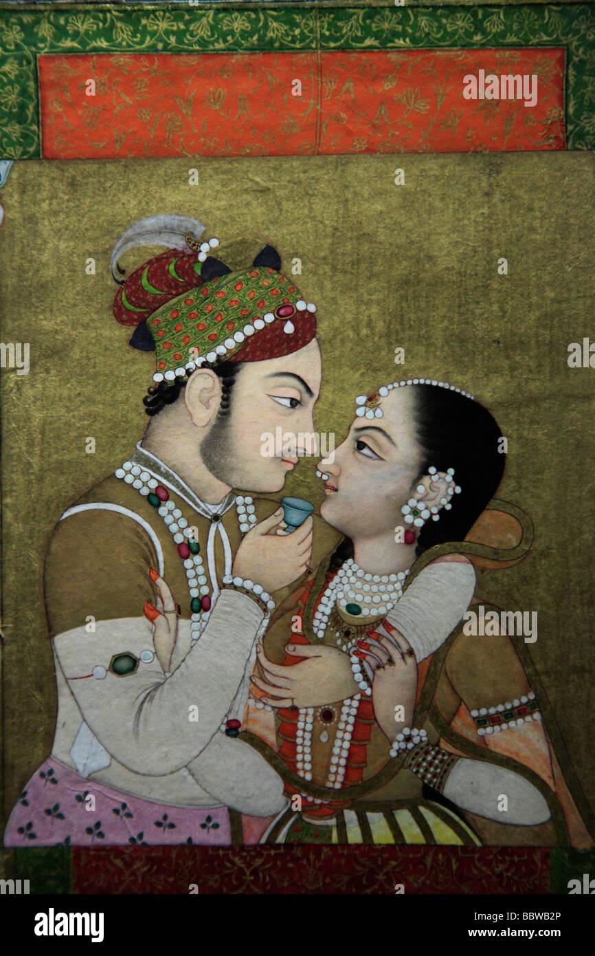 Germania Berlino Pergamon Museum di Mughal pittura in miniatura India Foto Stock