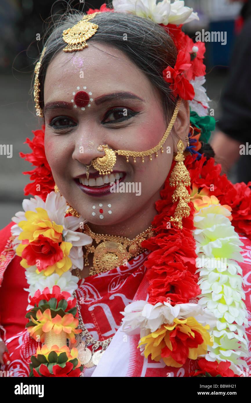 Germania Berlino Il Carnevale delle culture donna indiana in costume Immagini Stock