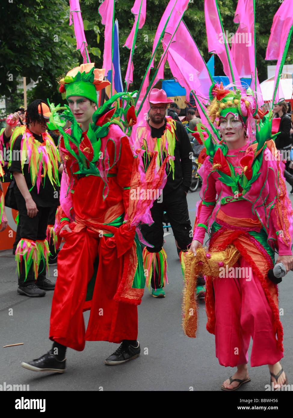 Germania Berlino Il Carnevale delle culture matura in costume Immagini Stock