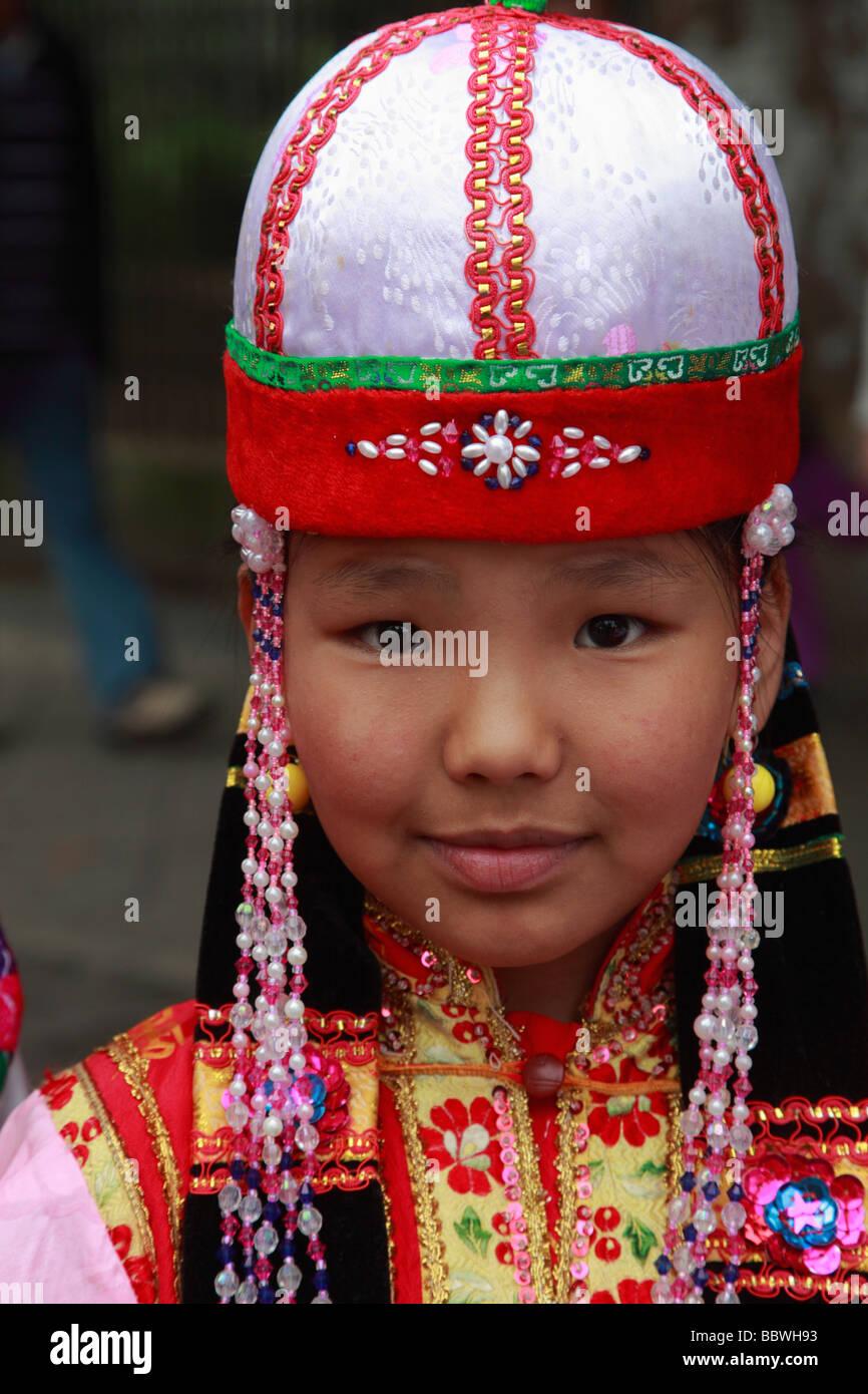 Germania Berlino Il Carnevale delle culture il mongolo bambino Immagini Stock