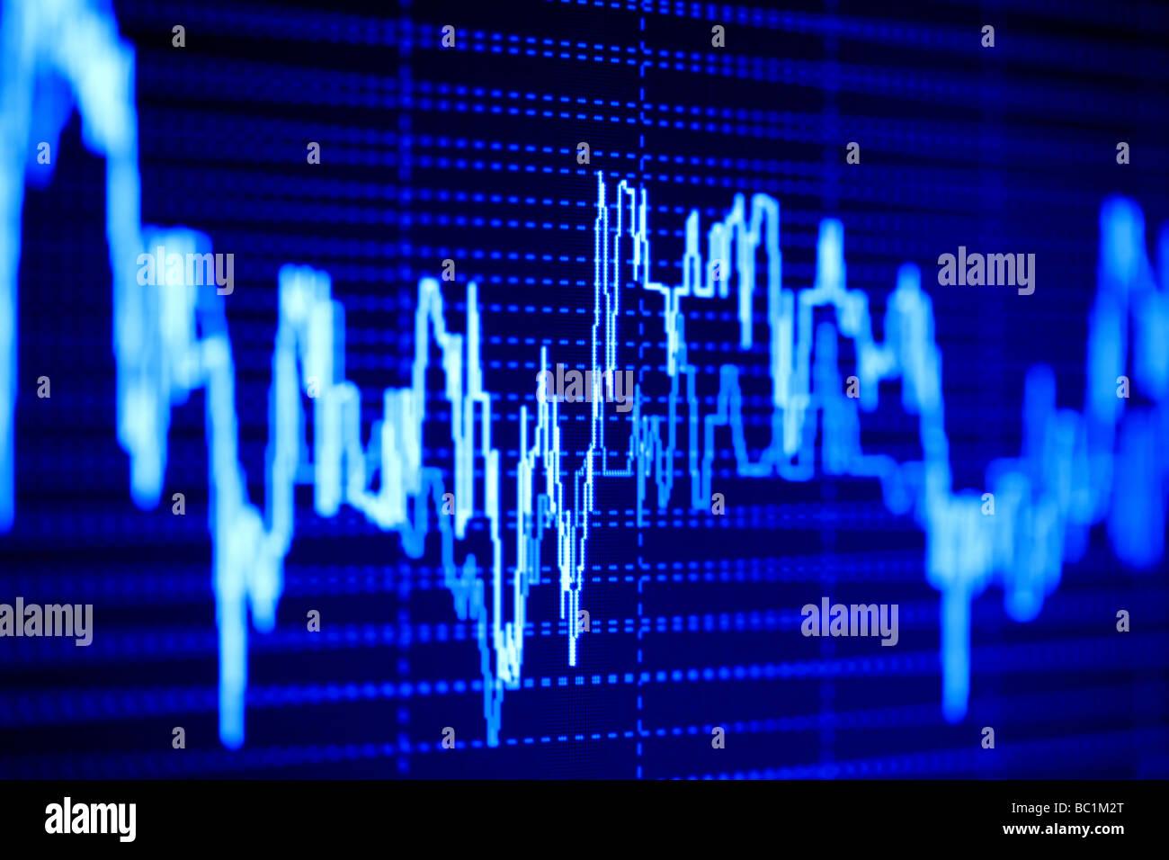 Il mercato azionario di grafici sul monitor lcd. Immagini Stock